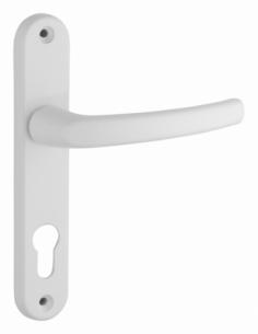 Ensemble de poignées pour porte d'entrée Sultane trou de cylindre, carré 7mm, entr'axes 165mm, blanc - THIRARD Poignée