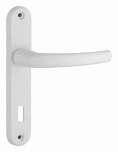 Ensemble de poignées pour porte intérieure Sultane trou de clé, carré 7mm, entr'axes 165mm, blanc - THIRARD Poignée