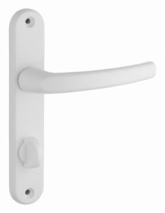 Ensemble de poignées pour porte intérieure Sultane à condamnation, carré 7mm, entr'axes 165mm, blanc - THIRARD Poignée