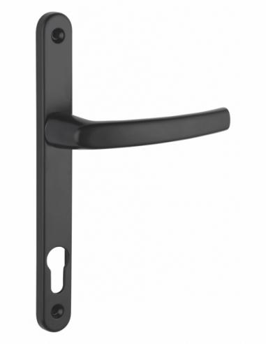 Ensemble de poignées pour porte d'entrée Sultane trou de cylindre, carré 8mm, entr'axes 195mm, noir - THIRARD Poignée