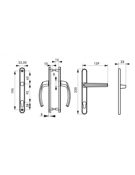 Ensemble de poignées pour porte d'entrée Sultane trou de cylindre, carré 8mm, entr'axes 195mm, saillie réduite, inox - THIRAR...