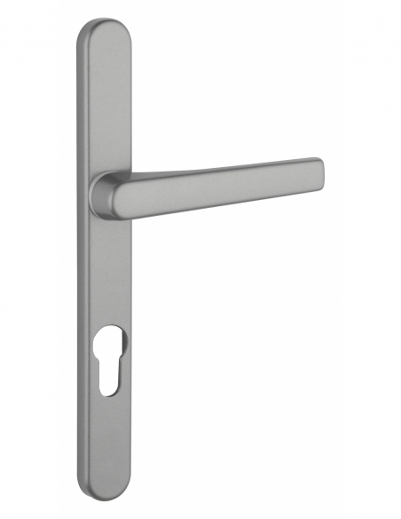 Ensemble de poignées pour porte d'entrée Sultane trou de cylindre, carré 7mm, entr'axes 195mm, saillie réduite, gris - THIRAR...