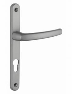 Ensemble de poignées pour porte d'entrée Sultane trou de cylindre, carré 7mm, entr'axes 195mm, gris - THIRARD Poignée