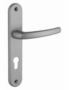 Ensemble de poignées pour porte d'entrée Sultane trou de cylindre, I, carré 7mm, entr'axes 195mm, gris - THIRARD Poignée