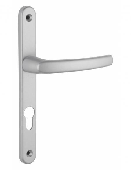 Ensemble de poignées pour porte d'entrée Sultane trou de cylindre, carré 7mm, entr'axes 195mm, argent - THIRARD Poignée