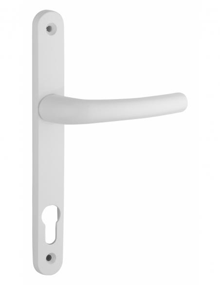 Ensemble de poignées pour porte d'entrée Sultane trou de cylindre, carré 8mm, entr'axes 195mm, blanc - THIRARD Poignée