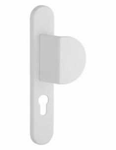 Ensemble de poignées pour porte d'entrée palière Sultane trou de cylindre, entr'axes 195mm, blanc - THIRARD Poignée