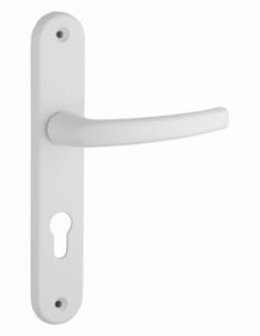 Ensemble de poignées pour porte d'entrée Sultane trou de cylindre, carré 7mm, entr'axes 195mm, blanc - THIRARD Poignée
