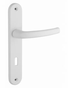 Ensemble de poignées pour porte de chambre Sultane trou de clé, carré 7mm, entr'axes 195mm, blanc - THIRARD Poignée