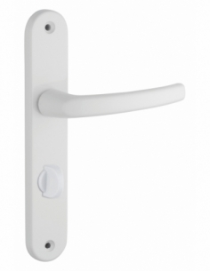 Ensemble de poignées pour salle de bain et toilette Sultane à condamnation, carré 7mm, entr'axes 195mm, blanc - THIRARD Poignée