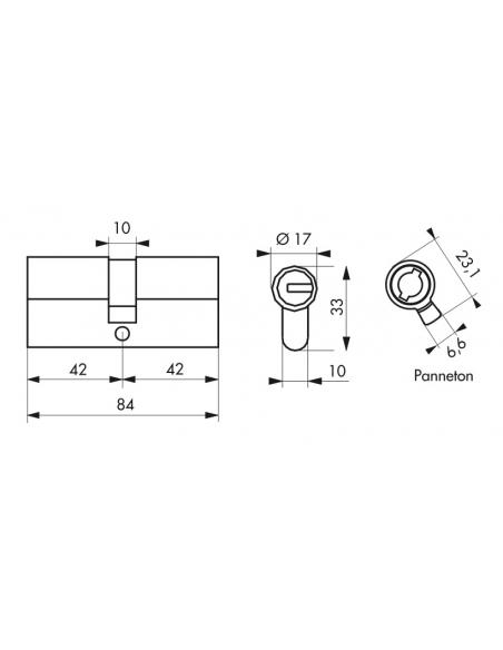 Cylindre de serrure double entrée Federal S, 40x40mm, nickel, anti-arrachement, anti-perçage, 5 clés - THIRARD Cylindre de se...