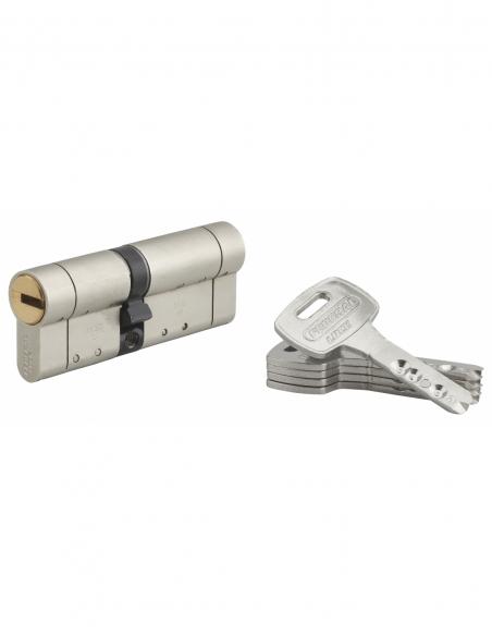 Cylindre de serrure double entrée Federal S, 35x45mm, nickel, anti-arrachement, anti-perçage, 5 clés - THIRARD Cylindre de se...