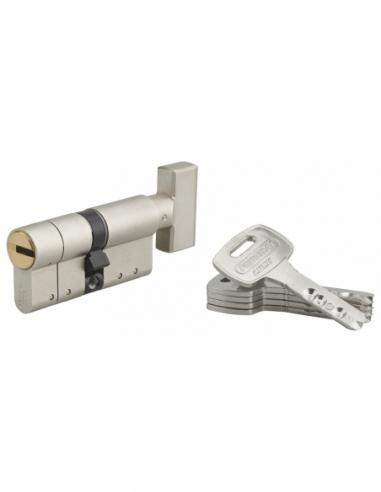 Cylindre de serrure à bouton Federal S, 30Bx30mm, nickel, anti-arrachement, anti-perçage, 5 clés - THIRARD Cylindre de serrure