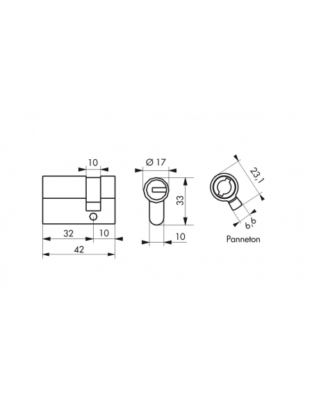 Demi-cylindre de serrure Federal S, 30x10mm, nickel, anti-arrachement, anti-perçage, 5 clés - THIRARD Cylindre de serrure
