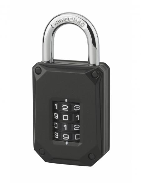 Cadenas à combinaison Code-X, 4 chiffres, intérieur, anse acier, 45mm, noir - THIRARD Cadenas