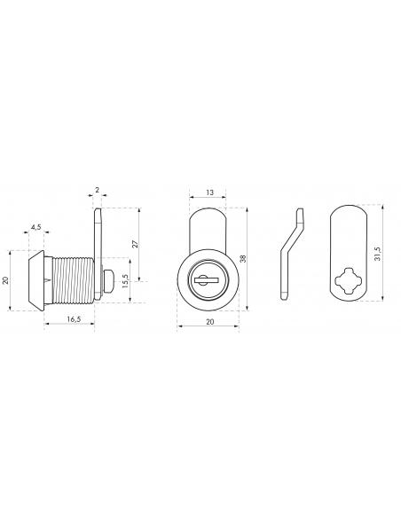 Batteuse avec came pour boîte aux lettres, nickel, longueur 19.7mm, 2 clés - THIRARD Serrure boîte aux lettres