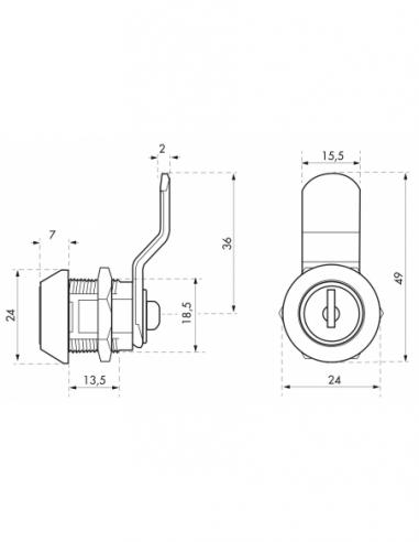 Batteuse avec came pour boîte aux lettres, nickel, longueur 9.7mm, ép.1 à 10 mm maxi, 2 clés - THIRARD Serrure boîte aux lettres