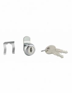Batteuse avec came pour boîte aux lettres, nickel, longueur 9.7mm, ép.1 à 5,5 mm max, 2 clés - THIRARD Serrure boîte aux lettres