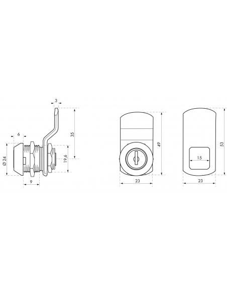 Batteuse avec came pour boîte aux lettres, nickel, longueur 13mm, 2 clés - THIRARD Serrure boîte aux lettres