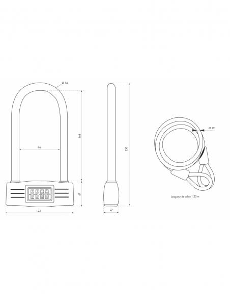 Antivol U à combinaison UP, 4 chiffres, vélo, câble acier, 12mmx120mm - THIRARD Antivol