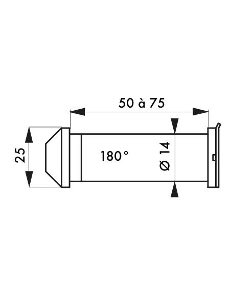 Judas de porte 180°, Ø14mm, laiton poli - THIRARD Equipement