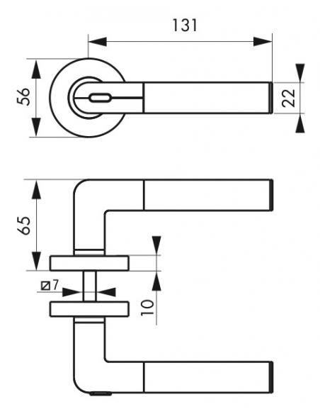 Ensemble de poignées, poignée gauche connectée pour industrie, carré 7mm, nickelé satin - THIRARD Poignée
