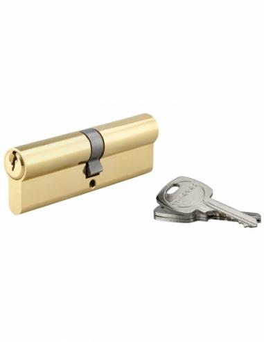 Cylindre de serrure double entrée, 50x50mm, anti-arrachement, laiton, 3 clés - THIRARD Cylindre de serrure