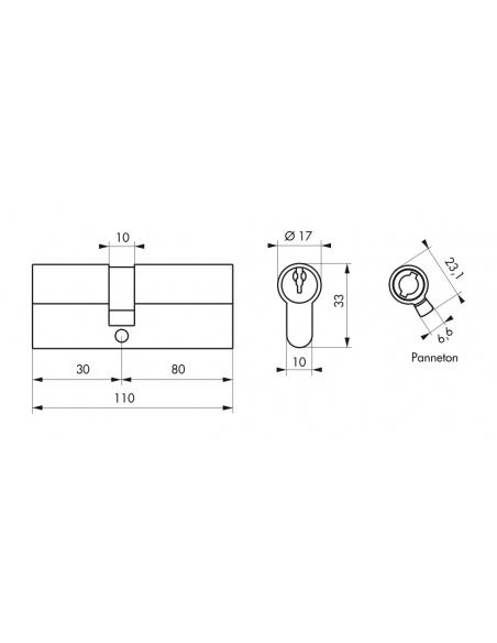 Cylindre de serrure double entrée, 30x80mm, anti-arrachement, laiton, 3 clés - THIRARD Cylindre de serrure