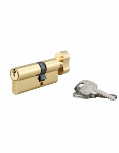 Cylindre de serrure à bouton, 30Bx50mm, anti-arrachement, laiton, 3 clés - THIRARD Cylindre de serrure