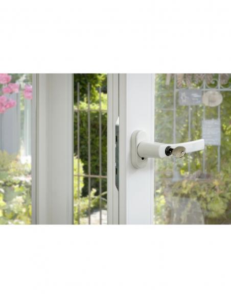 Béquille de crémone de fenêtre à clé, carré 7mm, blanc (ral 9010), 2 clés - THIRARD Poignée