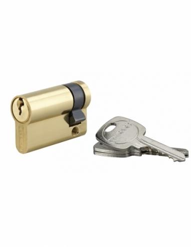 Demi-cylindre de serrure, 40x10mm, anti-arrachement, laiton, 3 clés - THIRARD Cylindre de serrure
