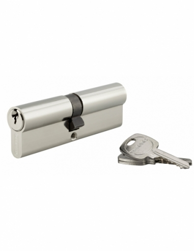 Cylindre de serrure double entrée, 50x50mm, anti-arrachement, nickel, 3 clés - THIRARD Cylindre de serrure