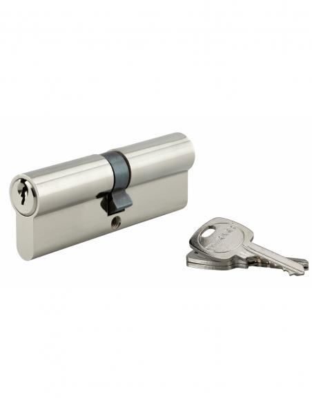 Cylindre de serrure double entrée, 45x45mm, anti-arrachement, nickel, 3 clés - THIRARD Cylindre de serrure