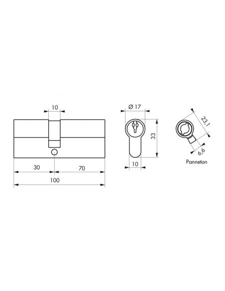 Cylindre de serrure double entrée, 30x70mm, anti-arrachement, nickel, 3 clés - THIRARD Cylindre de serrure