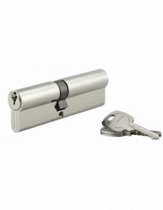 Cylindre de serrure double entrée, 45x55mm, anti-arrachement, nickel, 3 clés - THIRARD Cylindre de serrure