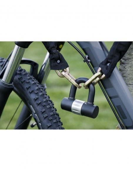 Chaîne acier gainé nylon Loops, vélo, moto, barrières, 0.9m, noir, cadenas, 2 clés - THIRARD Antivol