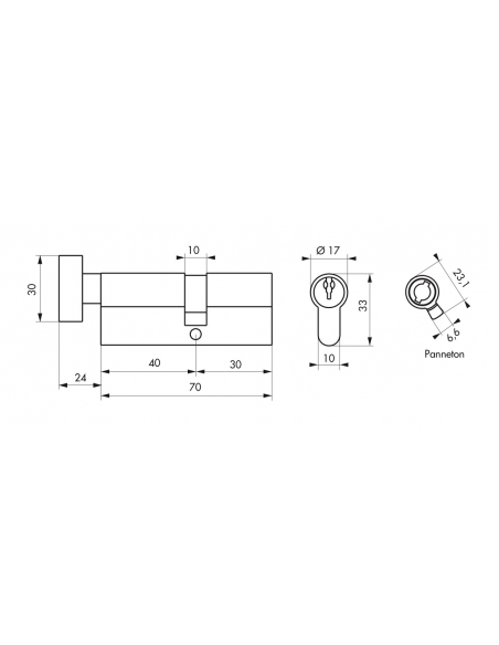 Cylindre de serrure à bouton, 40Bx30mm, anti-arrachement, nickel, 3 clés - THIRARD Cylindre de serrure