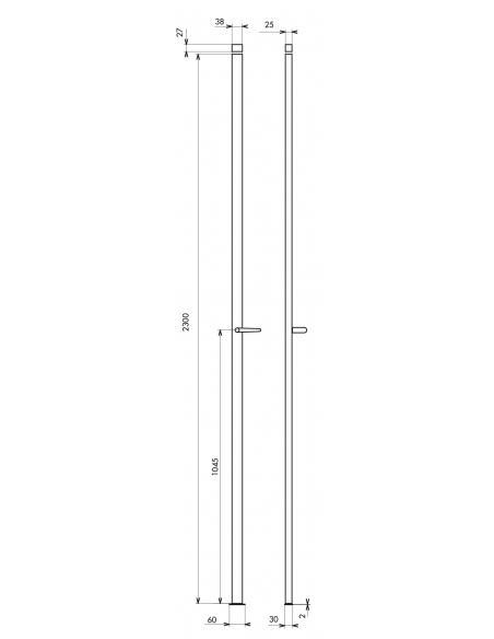 Crémone à béquille pour porte et fenêtre, 2 pts, hauteur 2300mm, noir - THIRARD Crémone