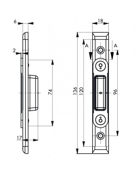 Gâche auxiliaire à verrouillage auto réversible pour porte bois, 136x18x6mm, Secury auto, E-13605-00-L-1 - FERCO by THIRARD G...