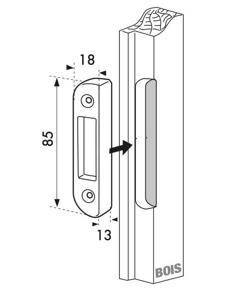 Gâche auxiliaire à défoncer pour porte bois, haut et bas, 81x18x8.5mm, Fercomatic, 9-34136-18-0-1 - FERCO by THIRARD Gâche de...
