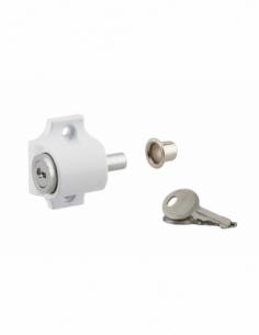 Verrou à cylindre pour baie coulissante, pêne poussoir, blanc, 2 clés - THIRARD Verrous