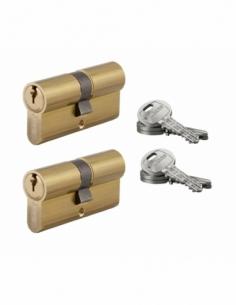 Lot de 2 cylindres de serrure double entrée HG, 30x30mm, s'entrouvrant, nickel,3 clés/cylindre - THIRARD Cylindre de serrure