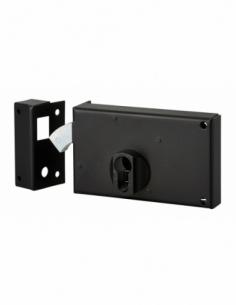 Boitier de serrure horizontale en applique double entrée à crochet pour portail, gauche, axe 60mm, 140x83mm, noir - THIRARD S...