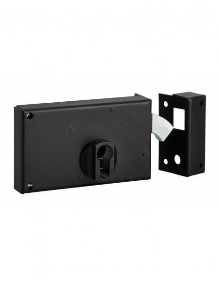 Boitier de serrure horizontale en applique double entrée à crochet pour portail, droite, axe 60mm, 140x83mm, noir - THIRARD S...