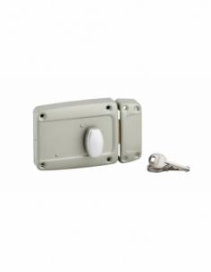 Serrure en applique à bouton pour porte latérale à battant, poignée, droite, 120x90mm, axe 40mm, gris, 3 clés - THIRARD Serru...