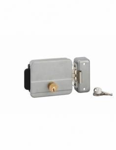 Serrure électrique horizontale en applique double entré pour portail, réversible, axe 60mm, 125x105mm, gris, 3 clés - THIRARD...