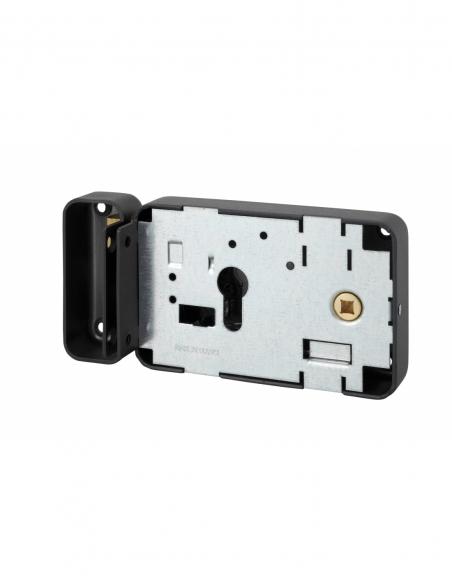 Boitier de serrure horizontale en applique double entrée à fouillot pour entrée, droite, axe 55mm, 140x88mm, noir - THIRARD S...
