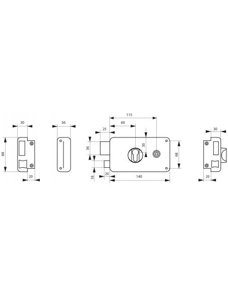 Boitier de serrure horizontale en applique double entrée pour porte d'entrée, gauche, axe 60mm, 140x88mm, noir - THIRARD Serr...