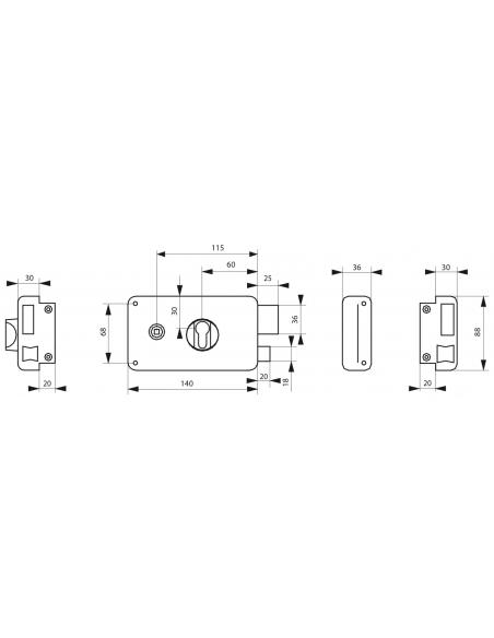 Boitier de serrure horizontale en applique double entrée pour porte d'entrée, droite, axe 60mm, 140x88mm, noir - THIRARD Serr...