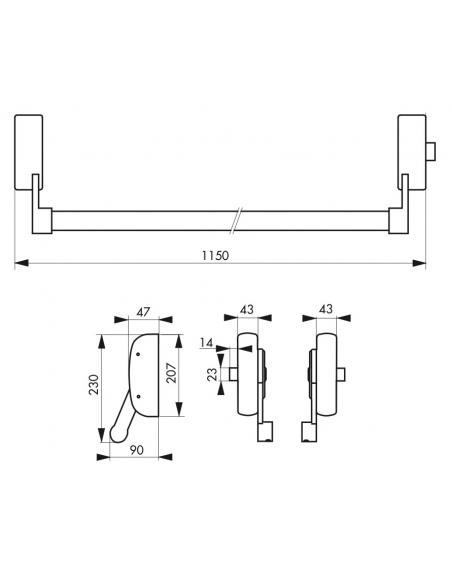 Serrure anti-panique U-Cross pour porte d'entrée 1150mm max, 1 pts latéral réversible, noir - THIRARD Serrure en applique